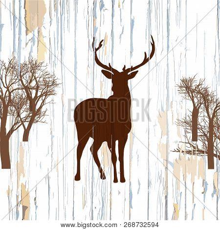 Deer Shape On Old Background. Hand-drawn Vector Vintage Illustration.