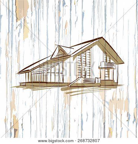 Modern House On Old Wooden Background. Hand-drawn Vector Vintage Illustration.