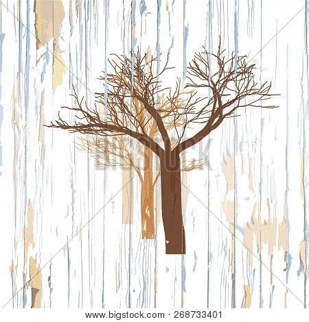 Trees Drawing On Wooden Background. Hand-drawn Vector Vintage Illustration.