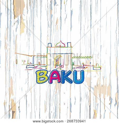 Colorful Baku Drawing On Wooden Background. Hand-drawn Vintage Vector Illustration.