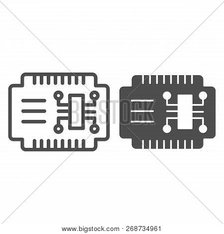 Microcircuit Line And Glyph Icon. Car Electronics Vector Illustration Isolated On White. Automobile