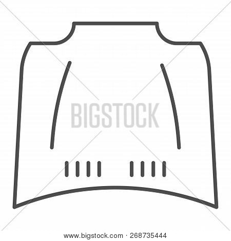 Car Hood Thin Line Icon. Car Bonnet Vector Illustration Isolated On White. Automobile Hood Outline S