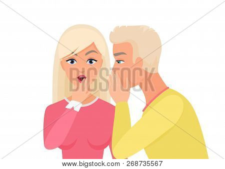 Man Whispering Gossip Or Secret Rumors To Woman. Gossiping Secret People Vector Illustration.