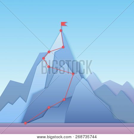 Mountain Climbing Route To Peak. Business Progress Motivation, Discipline And Goal Achieving Concept