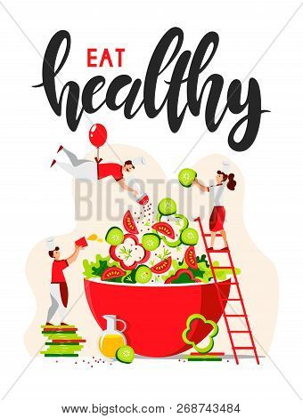 Vector Flat Design Of People Who Cook Green Salad For A Healthy Lifestyle. Little Chefs Make A Veget