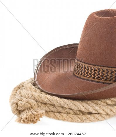 brown cowboy hat and rope isolated on white background poster