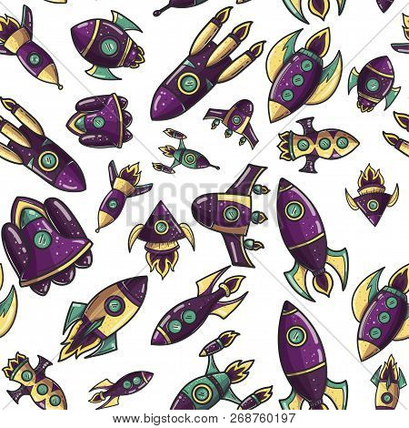 Cartoon Rockets Hand Drawn Retro Seamless Pattern. Cute Space Shuttles Cliparts. Doodle Spaceships.