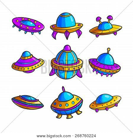 Cartoon Flying Saucers Hand Drawn Color Illustrations Set. Cute Ufo. Space Shuttles Cliparts. Doodle