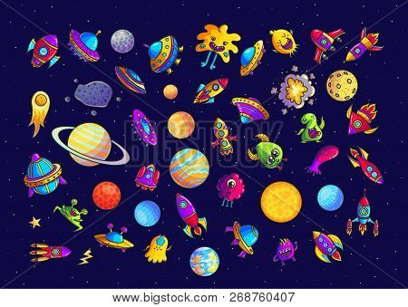 Space Hand Drawn Cartoon Vector Illustrations Set. Doodle  Ufo, Monsters, Planets Cliparts. Cute Ali