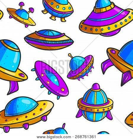 Cartoon Flying Saucers Hand Drawn Color Seamless Pattern. Cute Ufo. Space Shuttles Cliparts. Doodle