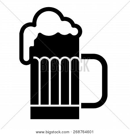 Glass Of Beer With Foam Solid Icon. Mug Of Cold Beer Vector Illustration Isolated On White. Beer Gla