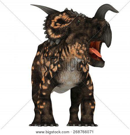 Einiosaurus Dinosaur On White 3d Illustration - Einiosaurus Was A Ceratopsian Herbivore Dinosaur Tha