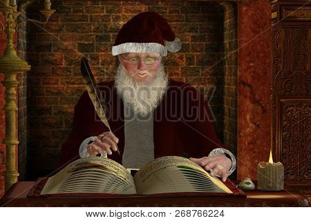 Santa Claus 3d Illustration - Santa Claus Writes In His Gift List For The Coming Winter Holiday Chri