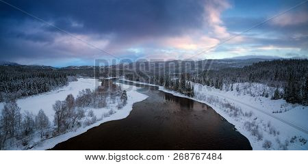 Boreal Landscape Near Grong, Winter Time, Norway