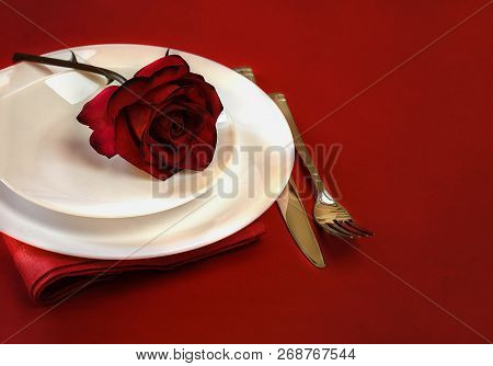 Romantic Table Setting For Valentines Day Or Dinner Date Celebration Wedding. Valentines Day Table S