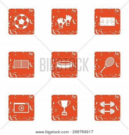 Sport Vision Icons Set. Grunge Set Of 9 Sport Vision Icons For Web Isolated On White Background