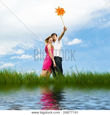 young couple with the pinwheel