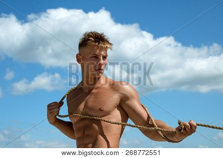 My Ambition Is To Be A Great Sportsman. Sport Exercises For Building Strength. Strong Man Pull Rope.