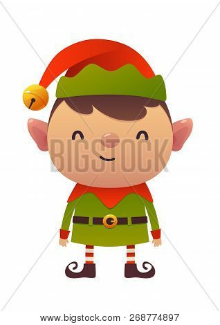 Little Cute Cartoon Elf Vector Illustration On White Background Isolated Christmas Character