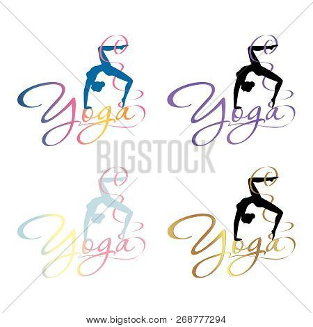 Logo Of The Yoga Center, The Silhouette Of A Girl Standing In A Pose And The Word Yoga Permeates Thi