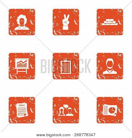 Rising Knowledge Icons Set. Grunge Set Of 9 Rising Knowledge Icons For Web Isolated On White Backgro