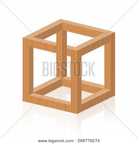 Optical Illusion. Impossible Or Irrational Cube, Invented By M.c. Escher. Isolated Wooden Textured V