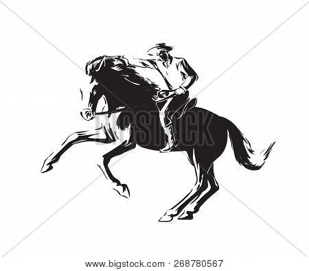 Hand Drawn Man With Revolver Riding Horse. Western Cowboy Chase Vector Illustration. Black Isolated