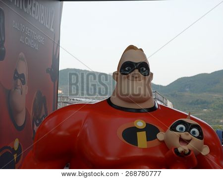 Giffoni Valle Piana, Sa, Italy - July 21, 2018 : Movie Previews Incredibles 2 At Giffoni Film Festiv