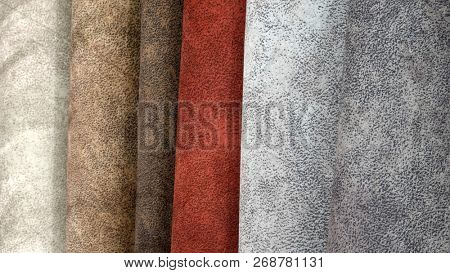 Textile materials variety shades of colors horizontal