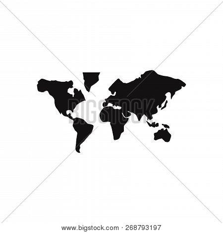 World Map Icon Isolated On White Background. World Map Icon In Trendy Design Style. World Map Vector