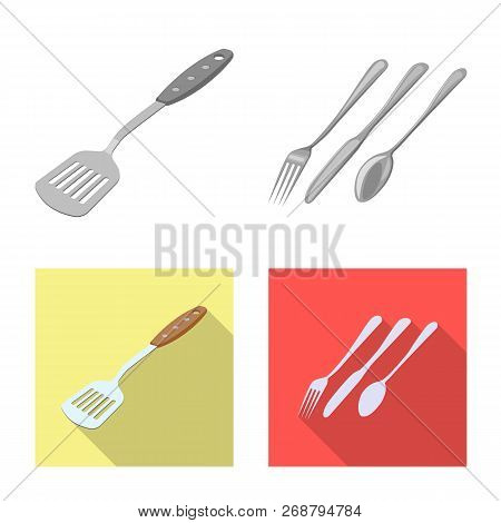 Vector Design Of Kitchen And Cook Logo. Set Of Kitchen And Appliance Stock Vector Illustration.