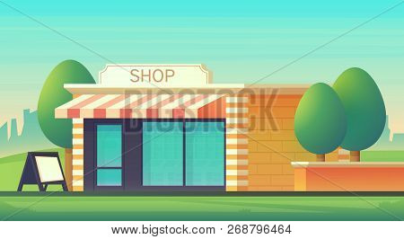 Mini Market Or Shop Store With Cityscape Landscape. Shop Building With A Glass-glazed Storefront. Ci