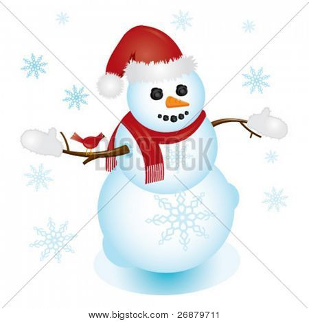 Illustration of snowman with Santa hat and cardinal sitting on his arm; perfect for any Christmas or winter project.