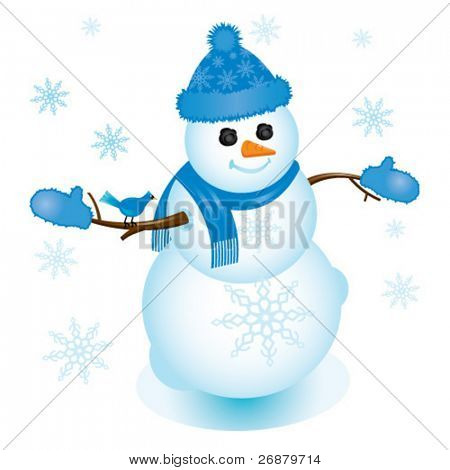 Illustration of snowman in blue with bluejay sitting on his arm; perfect for any winter or Christmas project.