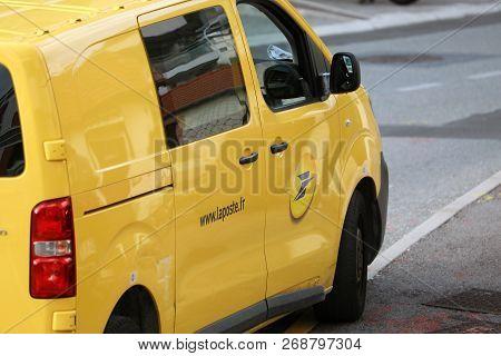 Roquebrune-cap-martin, France - November 14, 2018: La Poste Yellow Parcel Delivery Service Van (citr