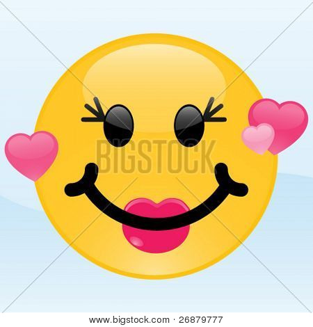 Girl smiley in love with pink hearts