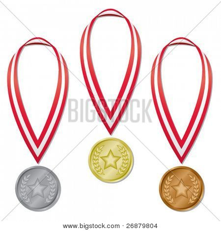 Three medals in gold, silver, and bronze with red and white ribbons; perfect for projects! (Blends used.)