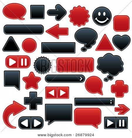 Collection of smooth, outlined web buttons and icons in luscious red and velvety black. Add your own text or symbols.