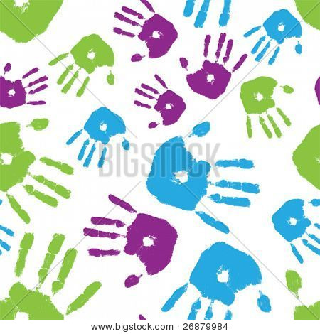 Brightly colored handprints arranged in a seamless composition