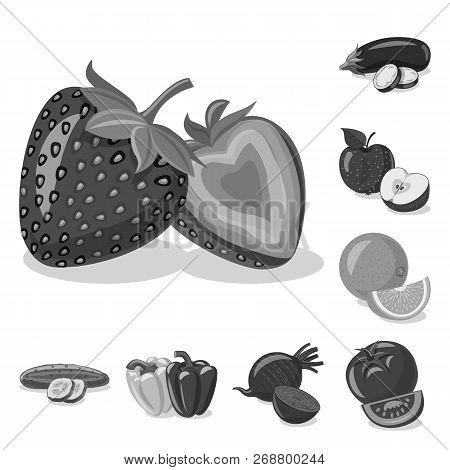 Vector Design Of Vegetable And Fruit Sign. Set Of Vegetable And Vegetarian Stock Vector Illustration