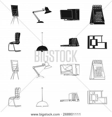 Vector Illustration Of Furniture And Work Icon. Collection Of Furniture And Home Vector Icon For Sto