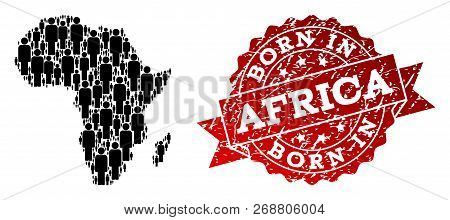 People Crowd Combination Of Black Population Map Of Africa And Scratched Seal. Vector Red Seal With