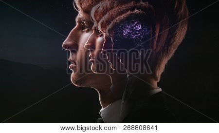 Profile Of A Young Man With Mental Activity Brain And Consciousness, With The Cosmos As A Brain. The
