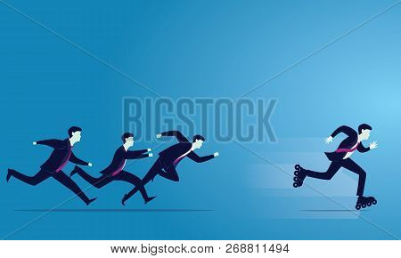 Vector Illustration. Business Competition Concept. Businessmen Sprint Racing Forward. Leader Win Wit