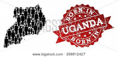 People Crowd Combination Of Black Population Map Of Uganda And Textured Seal. Vector Red Seal With C