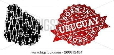 People Crowd Composition Of Black Population Map Of Uruguay And Rubber Stamp. Vector Red Imprint Wit