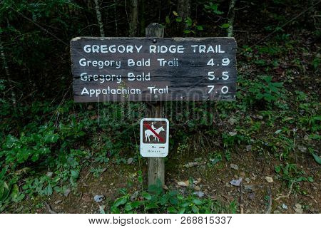 Gregory Ridge Trail Sign At Trailhead In Cades Cove