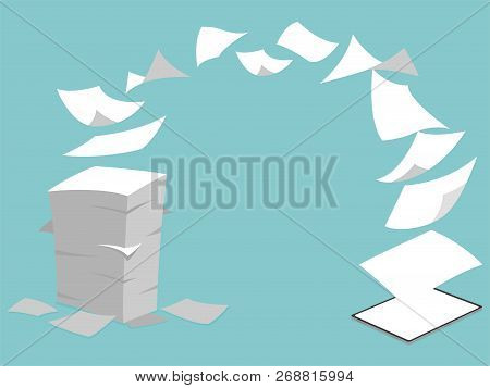Concept Idea Of Stack White Paperless Go Green Fly Into New Tablet Pro, Save The Planet, Documents T
