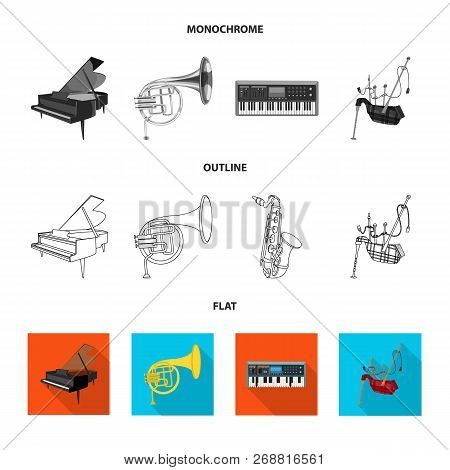 Vector Illustration Of Music And Tune Sign. Set Of Music And Tool Vector Icon For Stock.