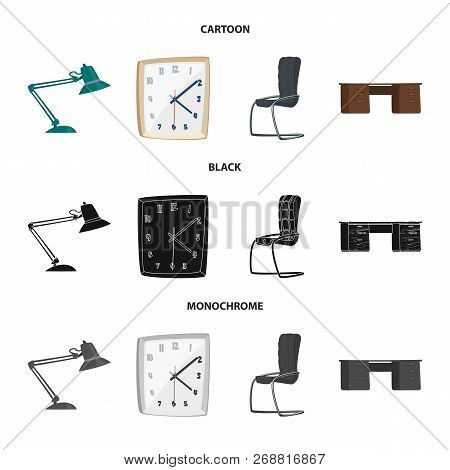 Vector Illustration Of Furniture And Work Icon. Collection Of Furniture And Home Stock Symbol For We